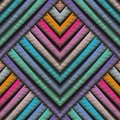 Striped embroidery 3d geometric seamless pattern. Vector abstract geometrical grunge background. Colorful tapestry