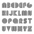 Striped english alphabet. Vector linear font.