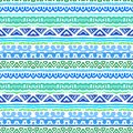 Striped ethnic pattern in vibrant blue and green inspired by aztec art shades of aqua texture for web print wallpaper home decor Royalty Free Stock Photo