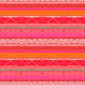 Striped ethnic pattern in vibrant red orange inspired by aztec art tropical coral colors texture for web print wallpaper home Stock Photography