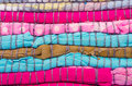 Striped fabric texture bright pink colorrful background Stock Images