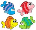 Striped fishes collection Royalty Free Stock Image