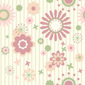 Striped floral wallpaper Stock Photo