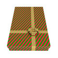 Striped gift box, red and green, isolated on white Royalty Free Stock Photography