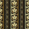 Striped gold Baroque seamless pattern. Floral black background w Royalty Free Stock Photo