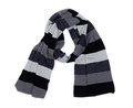 Striped knitted scarf woollen isolated on white Stock Image