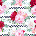 Striped navy and light blue floral seamless vector print with peony, alstroemeria lily, mint eucalyptus.