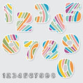 Striped numbers set colorful from zero to nine with shadow and not on colorful and black and white versions vector file is eps all Royalty Free Stock Images