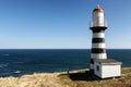 Striped old building of Petropavlovsky Lighthouse on Pacific Coast Royalty Free Stock Photo