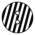 Striped sewing button icon, simple style