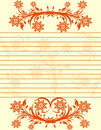 Striped sheet of paper with floral border. Royalty Free Stock Photo