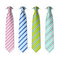 Striped silk ties template on white Royalty Free Stock Image
