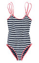 Striped swimsuit isolated on white Royalty Free Stock Images