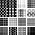Striped textures with diamond elements seamless geometric patterns set vector art Stock Image