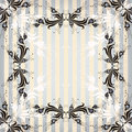 Striped vintage frame with flowers Royalty Free Stock Images