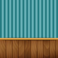Striped wallpaper with wood paneling Royalty Free Stock Photo