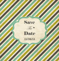 Striped wedding invitation card with frame date and heart Royalty Free Stock Photography