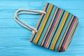 Striped women summer handbag. Royalty Free Stock Photo