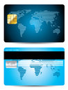 Striped world map credit card design in blue Stock Images