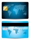 Striped world map credit card design