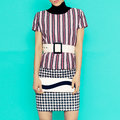 Stripes and checkered in clothingfashion combination stylish l clothing fashion lady Stock Images