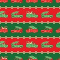 Stripes of Christmas trucks in red and green colors vector pattern.