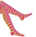 Stripey stockings illustration of leg of person in red and yellow white background Royalty Free Stock Images