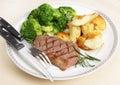 Striploin Steakmahlzeit Stockfotografie