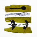 Strips of fresh seaweed, and spoon Stock Photo