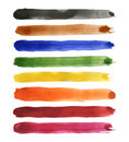 Strips of watercolor set different coloured vector illustration Royalty Free Stock Image