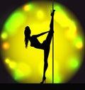 Striptease girl silhouette Royalty Free Stock Photo