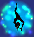 Striptease girl silhouette on a pole Royalty Free Stock Images