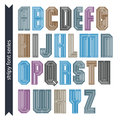 Stripy colorful geometric font retro style typescript created f from straight parallel lines extraordinary vector uppercase Royalty Free Stock Photography