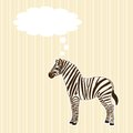 Stripy greeting card zebra speech bubble Royalty Free Stock Images