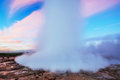 Strokkur geyser eruption in Iceland. Fantastic colors. Beautiful Royalty Free Stock Photo
