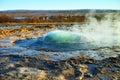 Strokkur about to erupt geyser at geysir iceland powerful Stock Photo