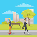 Stroll in City Park Flat Vector Illustration Royalty Free Stock Photo