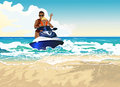 Stroll by the sea father and son riding on water bike in Stock Photography