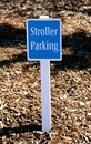 Stroller parking sign a marks the spot where parent can leave their strollers Royalty Free Stock Photography