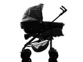 Stroller prams baby carriage silhouette one on white background Stock Photos