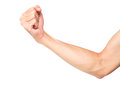 Strong arm muscle isolated on white background with clipping pat Royalty Free Stock Photo