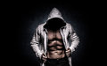 Strong athletic man on black background Royalty Free Stock Photo