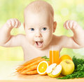 Strong baby fresh fruit meal and juice glass concept healthy vitamin vegetable food diet make happy Stock Photography
