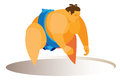 Strong and big male is sumo wrestler