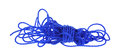 Strong blue poly rope unwound a fifty foot hank of royal Stock Photography