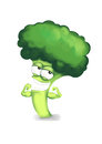 Strong broccoli hero cartoon character showing its muscles on a white background Royalty Free Stock Photo