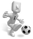 Strong business man kicking a soccer ball Stock Photo