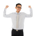 Strong businessman portrait of muscle asian smiling isolated on white background asian male model Stock Images