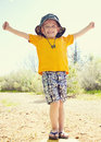 Strong and confident little boy a cute standing tall of himself Stock Photos