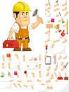 Strong Construction Worker Customizable Mascot Set Royalty Free Stock Photo